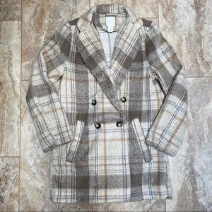 H&M Plaid Tan Neutral Shacket Jacket Sz 2